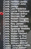 Memorial– Flight Sergeant Michael Arthur Cook is also commemorated on the Bomber Command Memorial Wall in Nanton, AB … photo courtesy of Marg Liessens