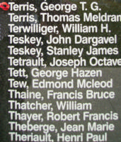 Memorial– Flying Officer George Thompson Gilbert Terris is commemorated on the Bomber Command Memorial Wall in Nanton, AB … photo courtesy of Marg Liessens
