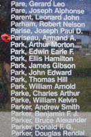 Memorial– Flying Officer Armand Alphonse Pariseau is commemorated on the Bomber Command Memorial Wall in Nanton, AB … photo courtesy of Marg Liessens