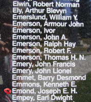 Memorial– Pilot Officer Joseph Edward Hector Emond is also commemorated on the Bomber Command Memorial Wall in Nanton, AB … photo courtesy of Marg Liessens