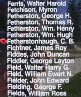 Memorial– Flight Sergeant Charles Brian Fetherstonhaugh is also commemorated on the Bomber Command Memorial Wall in Nanton, AB … photo courtesy of Marg Liessens