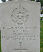Grave Marker– Photo courtesy of Frans van Cappellen, The Netherlands JB924 was one of three No.78 Halifaxes lost on this operation. Airborne 2317 13May43 from Linton-on-Ouse, it was shot down by a night- fighter and crashed 0255 , some 4 km NE of Harlingen, Holland. Six of those killed are buried in Barradeel (Wijnaldum) protestant Churchyard but RCAF Navigator J. M. Farrell is buried in Franekeradeel (Dongjum) Protestant Churchyard.  In addition to the two RCAF members, also killed were RAF F/S R.E.Bragg; Sgt E.Pritchard; F/L R.Grey; Sgt R.D.Matches; and Sgt D.Baxter. One, Sgt H.E.Gell, survived and was taken PoW.  (from http://www.lostbombers.co.uk/bomber.php?id=7162)