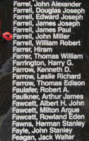 Memorial– Warrant Officer Class II John Miller Farrell is also commemorated on the Bomber Command Memorial Wall in Nanton, AB … photo courtesy of Marg Liessens