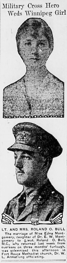 Newspaper Clipping– World War One wedding notice of his father. In memory of the men and women memorialized on the pages of the Winnipeg Evening Tribune during World War One. Submitted for the project, Operation: Picture Me