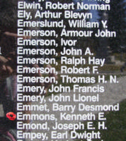 Memorial– Sergeant Kenneth Edward Emmons is also commemorated on the Bomber Command Memorial Wall in Nanton, AB … photo courtesy of Marg Liessens