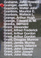 Memorial– Warrant Officer James George Grainger is also commemorated on the Bomber Command Memorial Wall in Nanton, AB … photo courtesy of Marg Liessens