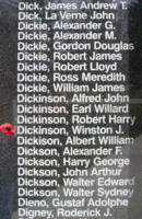 Memorial– Flight Sergeant Winston James Dickinson is also commemorated on the Bomber Command Memorial Wall in Nanton, AB … photo courtesy of Marg Liessens