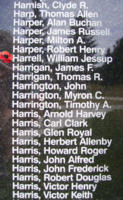 Memorial– Flight Sergeant William Jessup Harrell is also commemorated on the Bomber Command Memorial Wall in Nanton, AB … photo courtesy of Marg Liessens