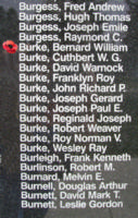 Memorial– Sergeant Bernard William Burke is also commemorated on the Bomber Command Memorial Wall in Nanton, AB … photo courtesy of Marg Liessens