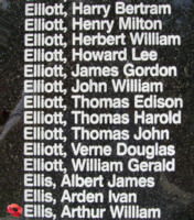 Memorial– Sergeant Arthur William Ellis is also commemorated on the Bomber Command Memorial Wall in Nanton, AB … photo courtesy of Marg Liessens