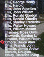 Memorial– Flying Officer Bruce Alan Elmore is also commemorated on the Bomber Command Memorial Wall in Nanton, AB … photo courtesy of Marg Liessens
