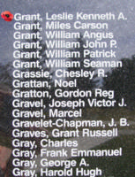 Memorial– Flying Officer Leslie Kenneth Alexander Grant is also commemorated on the Bomber Command Memorial Wall in Nanton, AB … photo courtesy of Marg Liessens