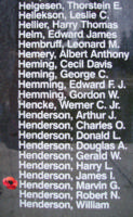 Memorial– Flying Officer Marvin George Henderson is also commemorated on the Bomber Command Memorial Wall in Nanton, AB … photo courtesy of Marg Liessens
