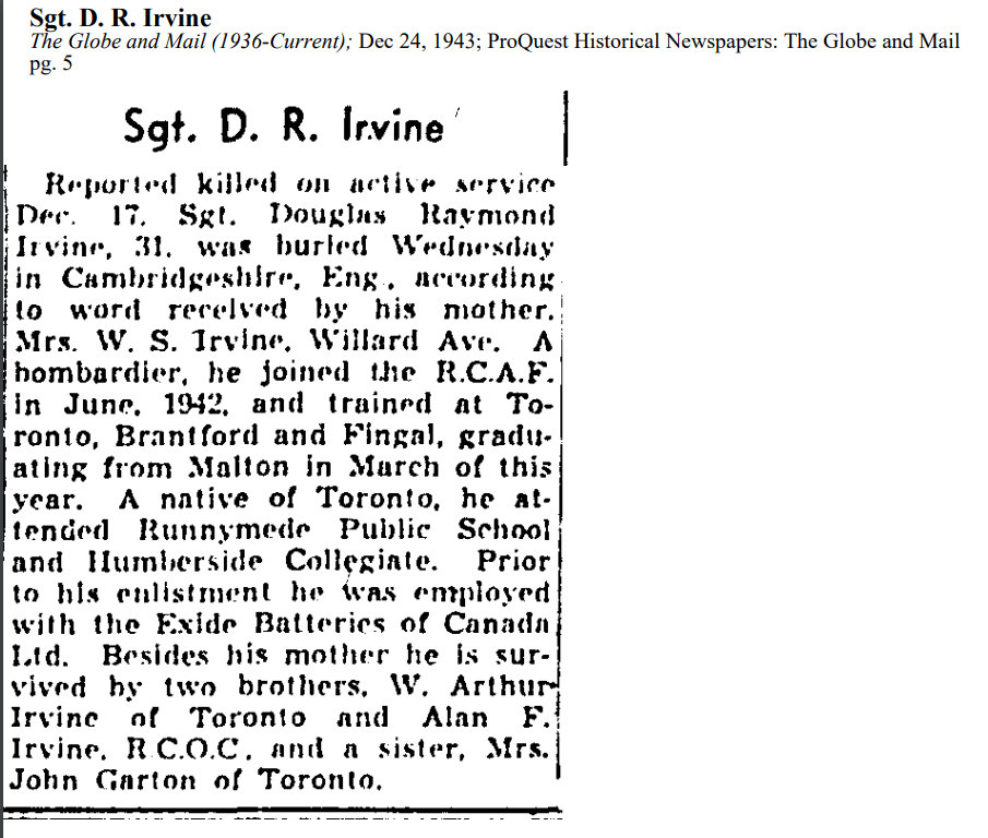 Newspaper Clipping– From Globe & Mail, Dec. 24, 1943