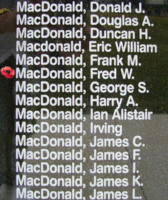 Memorial– Flight Sergeant Navigator (Bomber) Fred Whitten MacDonald is also commemorated on the Bomber Command Memorial Wall in Nanton, AB … photo courtesy of Marg Liessens