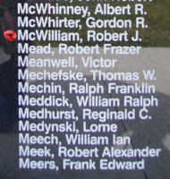 Memorial– Sergeant Robert James McWilliam is also commemorated on the Bomber Command Memorial Wall in Nanton, AB … photo courtesy of Marg Liessens