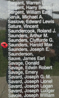Memorial– Flight Sergeant Harold Max Saunders is also commemorated on the Bomber Command Memorial Wall in Nanton, AB … photo courtesy of Marg Liessens