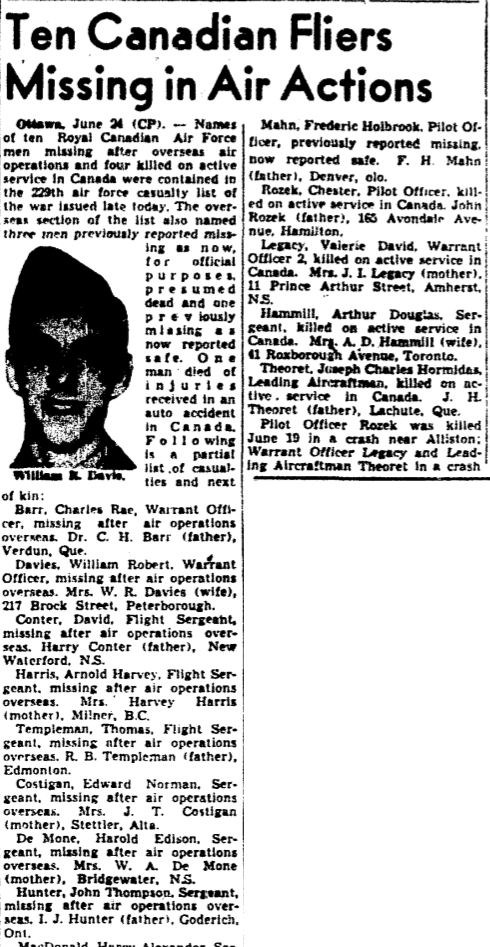 Newspaper Clipping– Missing in 1942.  Memorialized on the pages of the Globe and Mail. Submitted for the project, Operation Picture Me