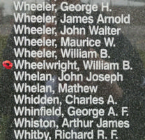 Memorial– Pilot Officer William Brian Wheelwright is also commemorated on the Bomber Command Memorial Wall in Nanton, AB … photo courtesy of Marg Liessens