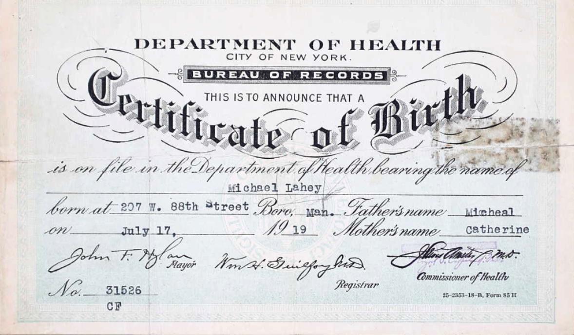 Birth ceritificate