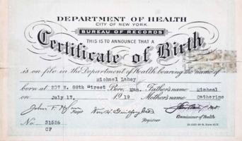 Birth ceritificate– Submitted for the project, Operation Picture Me