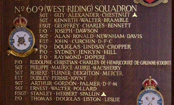 Chapel of Remembrance– Sergeant Guy Alexander Chestnut is also commemorated at St George's Royal Air Force Chapel of Remembrance - Biggin Hill … name on the panels that surround the Altar … Photo courtesy of Marg Liessens