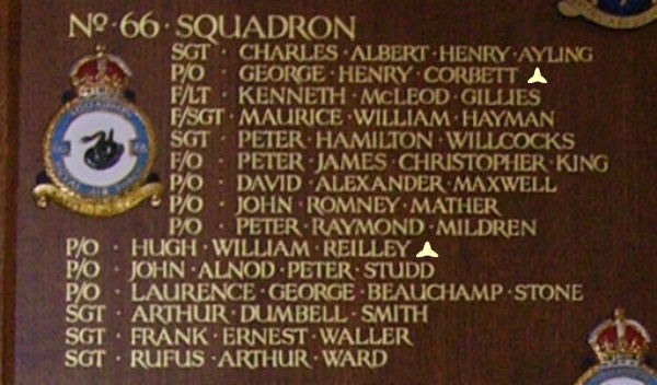 Memorial– Pilot Officer George Henry Corbett is also commemorated at St George's Royal Air Force Chapel of Remembrance - Biggin Hill … name on the panels that surround the Altar … Photo courtesy of Marg Liessens