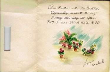 """Card– An Easter card Mabel Kavanagh sent to her brother, Lt. John Kavanagh, in 1945. It was returned to her with the message """"recipient deceased."""" Kavanagh family"""