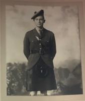 "Photo of Robert Lindsay– Black & White photo of  Lt. Robert ""Robin' (Andrew) Lindsay in Black Watch uniform"