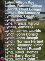 Memorial– Warrant Officer Class II Robert John Thomas Lynn is also commemorated on the Bomber Command Memorial Wall in Nanton, AB … photo courtesy of Marg Liessens