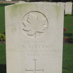 Grave Marker– Lieutenant C.N. Ackland's grave in Groesbeek Canadian Military Cemetery