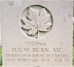 Grave marker– This photo of Capt Bean's gravemarker at Groesbeek Cemetery was taken in June 2003.