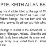 Obituary– This obituary of Pte Beange appeared in The Manitoulin (Island) Expositor in 1994.