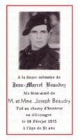 Photo of Jean Marcel Beaudry– In memory of Pte Jean Marcel Beaudry who was killed in Calcar, Germany on the 19th of February 1945.