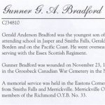 Memorial Page– Gerald Anderson Bradford is honoured on page 30 of the Merrickville Remembers booklet, published in January 2003.