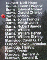 Memorial– Warrant Officer James Burns is also commemorated on the Bomber Command Memorial Wall in Nanton, AB … photo courtesy of Marg Liessens