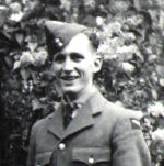 Photo of George Walter Clarke– George Walter Clarke (1923-1944).  Photo probably taken by his father before he went overseas.  His brother, Irwin Clarke, a soldier with the Essex Scottish Regiment, was killed at Dieppe in 1942.