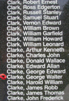 Memorial– Pilot Officer George Walter Clarke is also commemorated on the Bomber Command Memorial Wall in Nanton, AB … photo courtesy of Marg Liessens