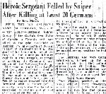 Newspaper Clipping– This article by Ross Munro, on Sgt. Aubrey Cosens, is from the March 13, 1945 Ottawa Citizen.