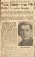 Newspaper Clipping– Article on William Cox being awarded medal.