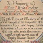 Honor Roll– This certificate shows Rfn. Alfred Crocker on the York Township Roll of Honour for WW II.