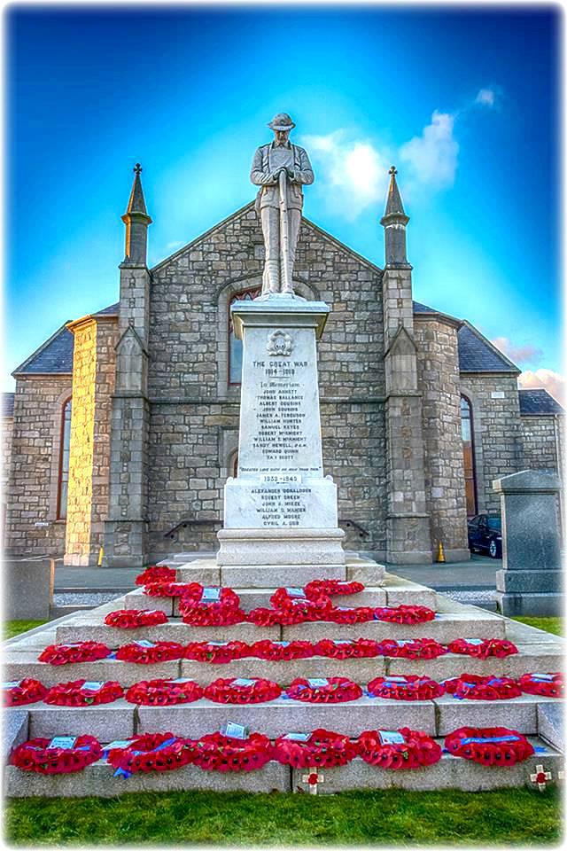 Cenotaph– War Memorial at Mourne Presbyterian Churh , Kilkeel, Northern Ireland.