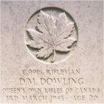 Grave Marker– This photo of Rfn Dowling's gravemarker was taken in June 2003.