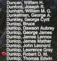 Memorial– Sergeant Robert Osbourne Mitchell Dunlop is also commemorated on the Bomber Command Memorial Wall in Nanton, AB … photo courtesy of Marg Liessens