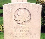 Gravemarker for Stewart John Elder– On behalf of my deceased father, Thomas Begbie who was with Jack Elder, his good friend, when he (Jack) died during the battle for Winnenthal in 1945.