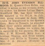 Obituary– This obituary of Rifleman Ellwood was clipped from a Toronto paper in 1945 by Mrs Josie McQuade.