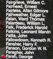 Memorial– Warrant Officer George Farah is also commemorated on the Bomber Command Memorial Wall in Nanton, AB … photo courtesy of Marg Liessens