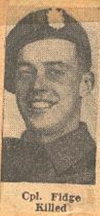 Newspaper Clipping– This image of Cpl Jack Fidge was obtained from a Toronto newspaper of 1945 that announced his death in combat. It has been preserved in a collection of articles about the QOR in WW II by Mrs. Ula Richardson.