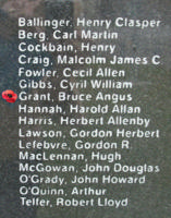 Memorial– Flying Officer Bruce Angus Grant is also commemorated on the Bomber Command Memorial Wall in Nanton, AB … photo courtesy of Marg Liessens