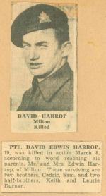 Photo of DAVID EDWIN HARROP– newspaper story